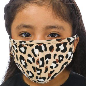 Reusable Kids Tan Leopard Print Face Mask